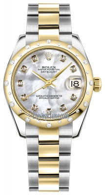 Rolex Datejust 31mm Stainless Steel and Yellow Gold 178343 White MOP Diamond Oyster