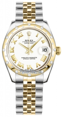 Rolex Datejust 31mm Stainless Steel and Yellow Gold 178343 White Roman Oyster