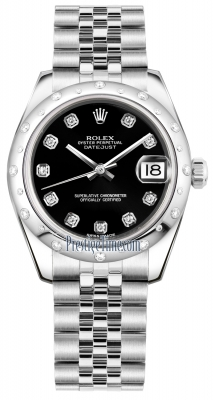 Rolex Datejust 31mm Stainless Steel 178344 Black Diamond Jubilee