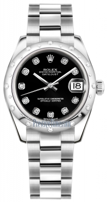 Rolex Datejust 31mm Stainless Steel 178344 Black Diamond Oyster