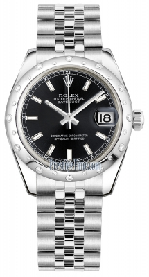 Rolex Datejust 31mm Stainless Steel 178344 Black Index Jubilee