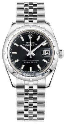 Rolex Datejust 31mm Stainless Steel 178344 Black Index Jubilee