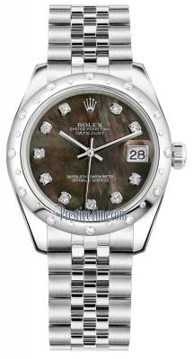 Rolex Datejust 31mm Stainless Steel 178344 Black MOP Diamond Jubilee