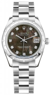 Rolex Datejust 31mm Stainless Steel 178344 Black MOP Diamond Oyster