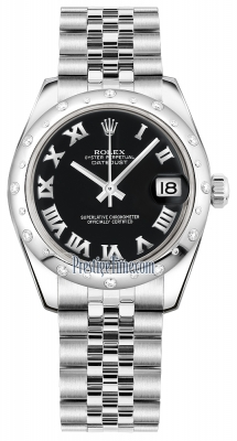 Rolex Datejust 31mm Stainless Steel 178344 Black Roman Jubilee
