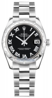 Rolex Datejust 31mm Stainless Steel 178344 Black Roman Oyster