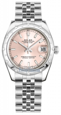 Rolex Datejust 31mm Stainless Steel 178344 Pink Index Jubilee
