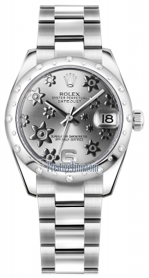 Rolex Datejust 31mm Stainless Steel 178344 Rhodium Floral Oyster