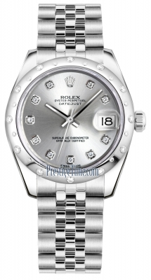 Rolex Datejust 31mm Stainless Steel 178344 Silver Diamond Jubilee