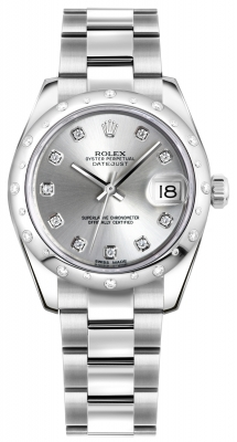Rolex Datejust 31mm Stainless Steel 178344 Silver Diamond Oyster
