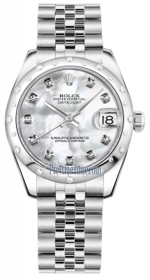Rolex Datejust 31mm Stainless Steel 178344 White MOP Diamond Jubilee