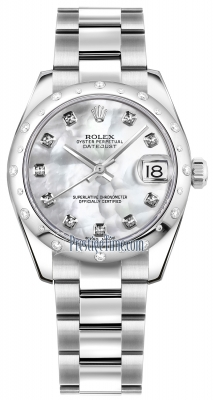Rolex Datejust 31mm Stainless Steel 178344 White MOP Diamond Oyster