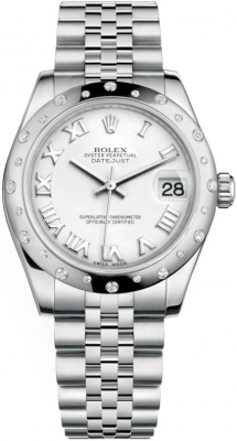 Rolex Datejust 31mm Stainless Steel 178344 White Roman Jubilee