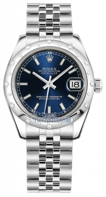 Rolex Datejust 31mm Stainless Steel 178344 Blue Index Jubilee