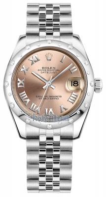 Rolex Datejust 31mm Stainless Steel 178344 Pink Roman Jubilee