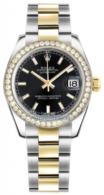 Rolex Datejust 31mm Stainless Steel and Yellow Gold 178383 Black Index Oyster