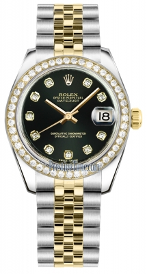 Rolex Datejust 31mm Stainless Steel and Yellow Gold 178383 Black Diamond Jubilee