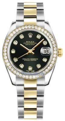 Rolex Datejust 31mm Stainless Steel and Yellow Gold 178383 Black Diamond Oyster