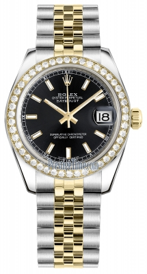 Rolex Datejust 31mm Stainless Steel and Yellow Gold 178383 Black Index Jubilee