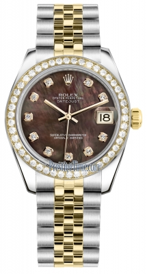 Rolex Datejust 31mm Stainless Steel and Yellow Gold 178383 Black MOP Diamond Jubilee