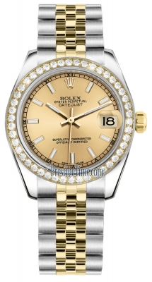 Rolex Datejust 31mm Stainless Steel and Yellow Gold 178383 Champagne Index Jubilee