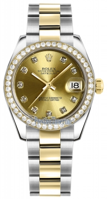 Rolex Datejust 31mm Stainless Steel and Yellow Gold 178383 Champagne Diamond Oyster