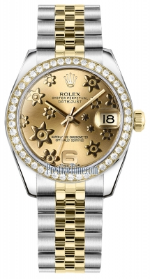 Rolex Datejust 31mm Stainless Steel and Yellow Gold 178383 Champagne Floral Jubilee