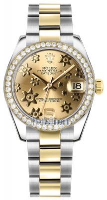 Rolex Datejust 31mm Stainless Steel and Yellow Gold 178383 Champagne Floral Oyster