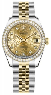Rolex Datejust 31mm Stainless Steel and Yellow Gold 178383 Jubilee Champagne Diamond Jubilee