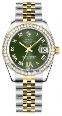 Rolex Datejust 31mm Stainless Steel and Yellow Gold 178383 Olive Green VI Roman Jubilee
