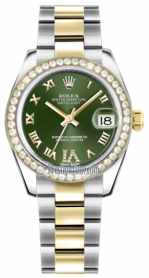 Rolex Datejust 31mm Stainless Steel and Yellow Gold 178383 Olive Green VI Roman Oyster