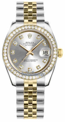 Rolex Datejust 31mm Stainless Steel and Yellow Gold 178383 Silver Diamond Jubilee