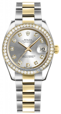 Rolex Datejust 31mm Stainless Steel and Yellow Gold 178383 Silver Diamond Oyster