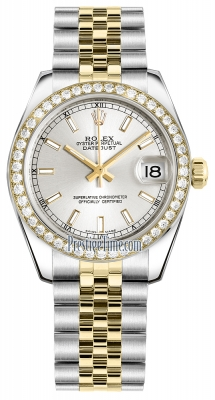 Rolex Datejust 31mm Stainless Steel and Yellow Gold 178383 Silver Index Jubilee