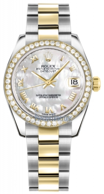 Rolex Datejust 31mm Stainless Steel and Yellow Gold 178383 White MOP Roman Oyster