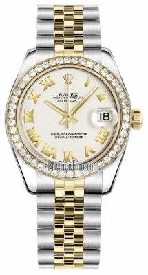 Rolex Datejust 31mm Stainless Steel and Yellow Gold 178383 White Roman Jubilee
