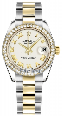 Rolex Datejust 31mm Stainless Steel and Yellow Gold 178383 White Roman Oyster