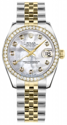Rolex Datejust 31mm Stainless Steel and Yellow Gold 178383 White MOP Diamond Jubilee