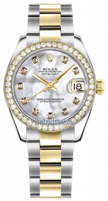 Rolex Datejust 31mm Stainless Steel and Yellow Gold 178383 White MOP Diamond Oyster