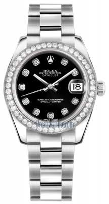 Rolex Datejust 31mm Stainless Steel 178384 Black Diamond Oyster