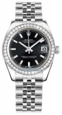 Rolex Datejust 31mm Stainless Steel 178384 Black Index Jubilee