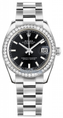 Rolex Datejust 31mm Stainless Steel 178384 Black Index Oyster