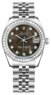 Rolex Datejust 31mm Stainless Steel 178384 Black MOP Diamond Jubilee
