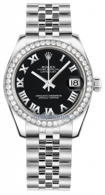 Rolex Datejust 31mm Stainless Steel 178384 Black Roman Jubilee