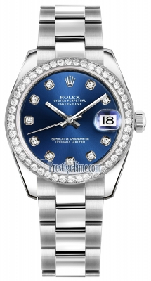 Rolex Datejust 31mm Stainless Steel 178384 Blue Diamond Oyster