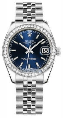 Rolex Datejust 31mm Stainless Steel 178384 Blue Index Jubilee
