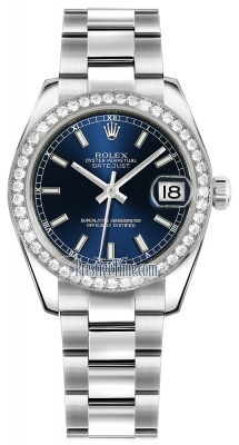 Rolex Datejust 31mm Stainless Steel 178384 Blue Index Oyster