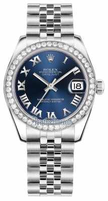 Rolex Datejust 31mm Stainless Steel 178384 Blue Roman Jubilee