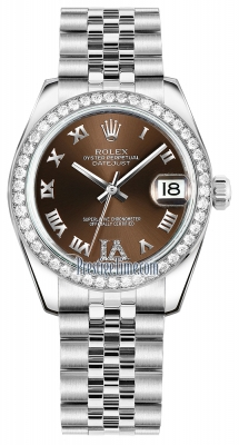 Rolex Datejust 31mm Stainless Steel 178384 Bronze VI Roman Jubilee