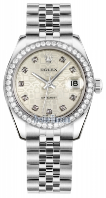 Rolex Datejust 31mm Stainless Steel 178384 Jubilee Silver Diamond Jubilee